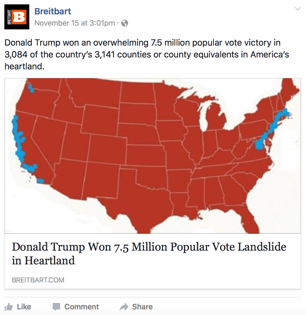 This Analysis Shows How Viral Fake Election News Stories: Breitbart's Phony Election Map Shows How Hard It Is To